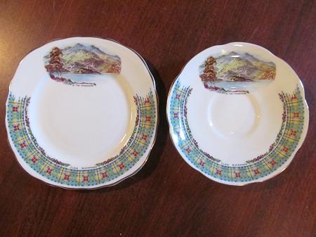 cowen china teacup saucer biscuit plate clan cameron balmoral