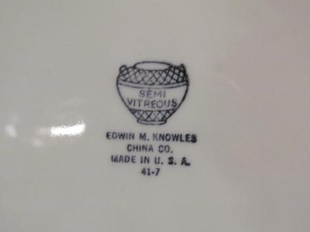Edwin M. Knowles China Semi Vitreous 13\