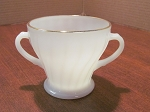 Anchor Hocking Glass Co Fire King Milk White Open Sugar Bowl Golden
