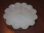 Anchor Hocking Glass Co Fire King Three Part Milk White w/Copper Trim Round Relish Tray