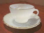 Anchor Hocking Glass Co Fire King Cup & Saucer Golden