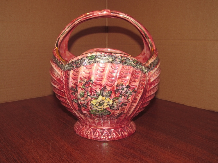 Arthur Wood Son Porcelain Basket Plantercache Pot Royal Bradwell