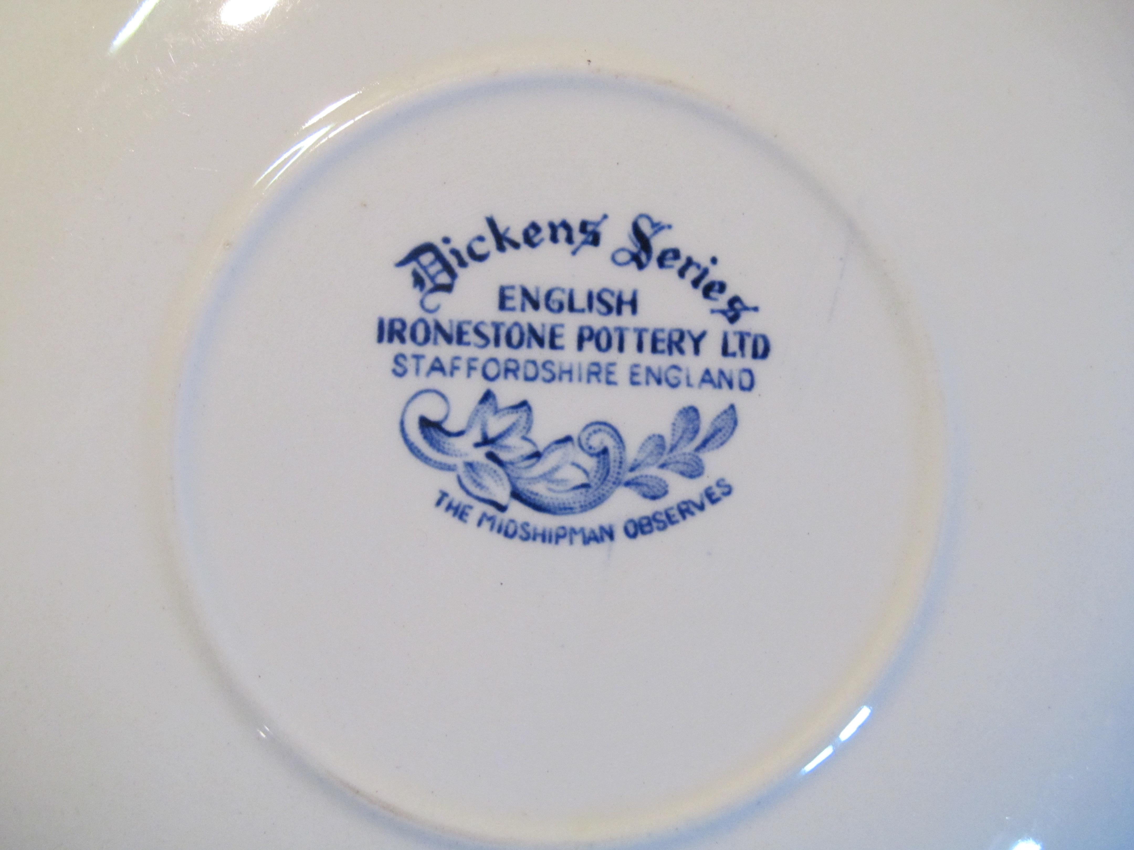 English Ironstone Pottery Ltd Blue Saucer Dickens Series