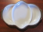 Anchor Hocking Glass Co Fire King Three Part Milk White Oblong Relish Dish