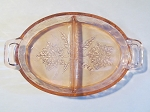 Jeannette Glass Co Pink 2 Part Relish Dish