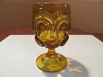L.G. Wright Glass Co Amber Pressed Glass Water Goblet