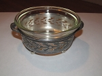 McKee Glass Co. Glasbak Oven Ware Custard Bowl & Silver Plate Holder