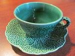 Shorter & Son Ltd Green Leaf Teacup & Saucer