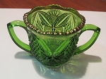 US Glass Co Pressed Glass Green Handled Sugar Bowl