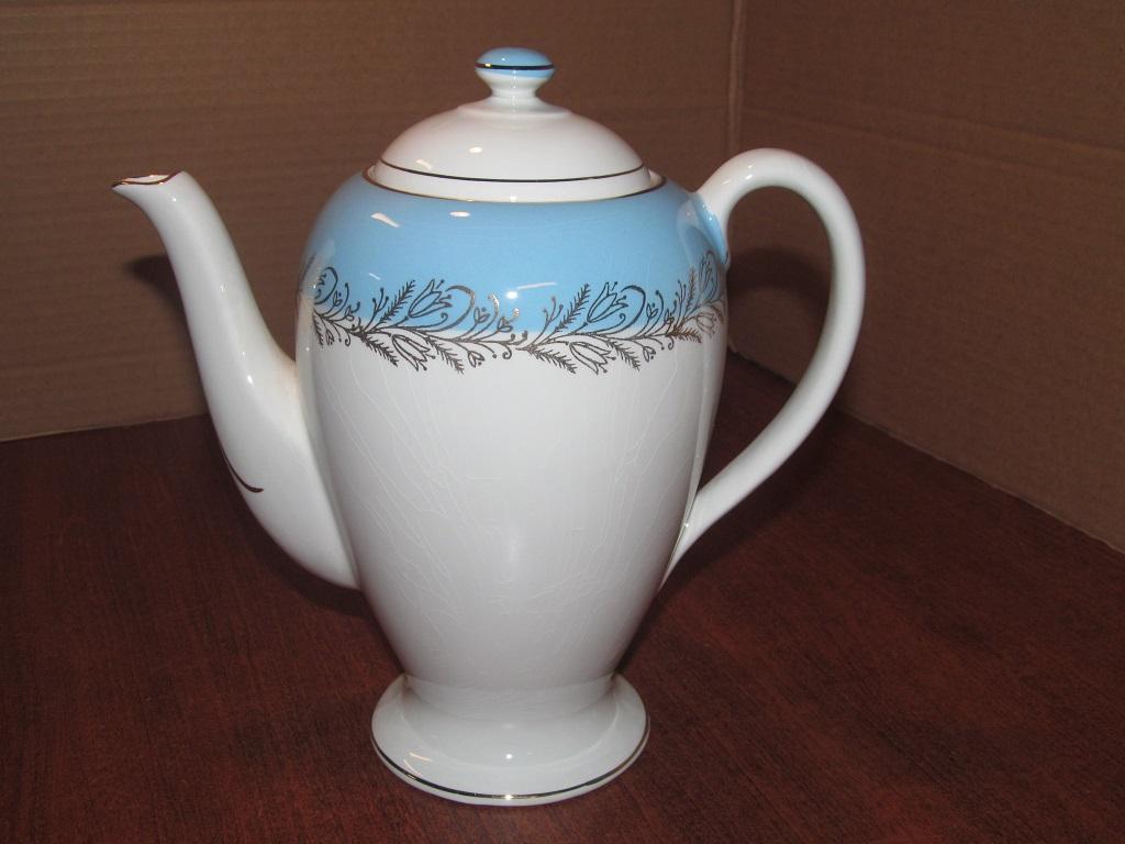 Washington Pottery Ltd Ironstone Coffee Pot Quot Blue Riband Quot