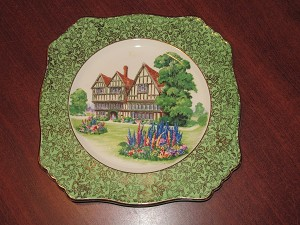 "Grimwades Ltd Royal Winton Square Dinner Plate ""Old English Manor House"""
