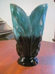 Blue Mountain Pottery  Green Fern Leaf Vase - Mold #52
