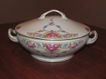 Victoria China Covered Round Serving Dish - Czechoslovakia