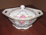 Victoria China Covered Octagonal Serving Dish - Czechoslovakia